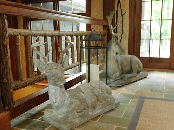 Deer statues indoors